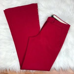 Theory Red Trouser Cotton Stretch Pants Size 4